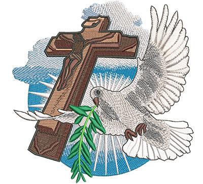 Embroidery Design: Dove Flight Lg 5.99w X 6.02h