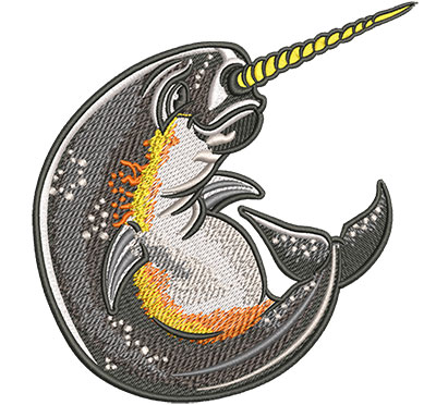 Embroidery Design: Cartoon Narwhal Lg 4.82w X 5.02h