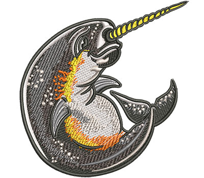 Embroidery Design: Cartoon Narwhal Sm 3.86w X 4.02h