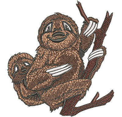 Embroidery Design: Sloth With Baby Med 3.72w X 4.02h