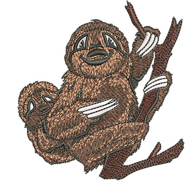 Embroidery Design: Sloth With Baby Sm 3.25w X 3.52h