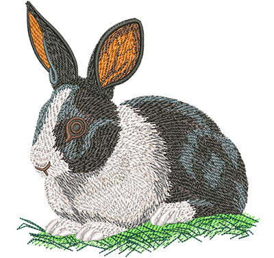 Embroidery Design: Black And White Rabbit Lg 4.52w X 4.78h