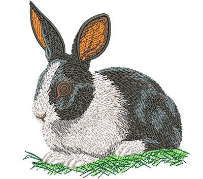 Embroidery Design: Black And White Rabbit Med 4.03w X 4.29h