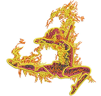 Embroidery Design: Fire Dance Sm 3.32w X 3.52h