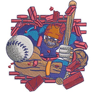 Embroidery Design: Hulking Baseball Lg 4.06w X 4.51h