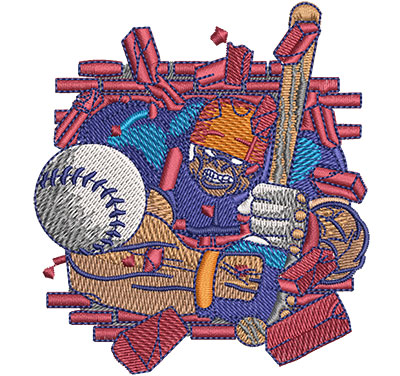 Embroidery Design: Hulking Baseball Sm 3.16w X 3.51h