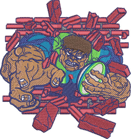 Embroidery Design: Hulking Rugby Lg 4.49w X 4.77h