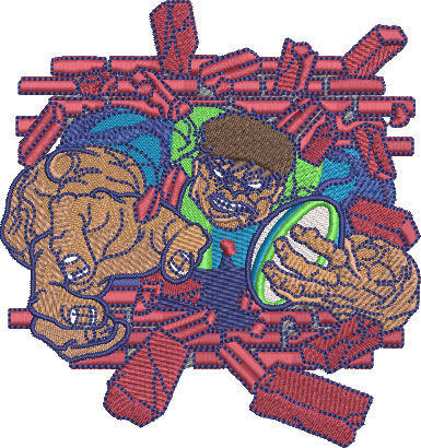 Embroidery Design: Hulking Rugby Med 4.02w X 4.27h
