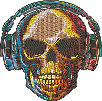 Embroidery Design: Skull With Headphones Lg 8.09w X 8.01h