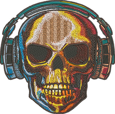 Embroidery Design: Skull With Headphones Sm 6.09w X 6.04h