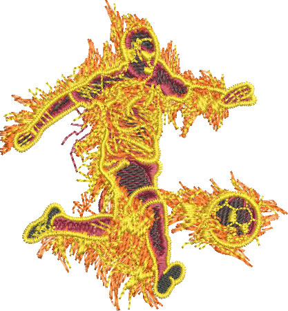 Embroidery Design: Fire Soccer Player Lg 4.35w X 4.68h
