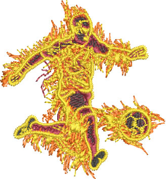 Embroidery Design: Fire Soccer Player Sm 3.40w X 3.67h