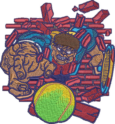 Embroidery Design: Hulking Tennis Lg 4.48w X 4.85h