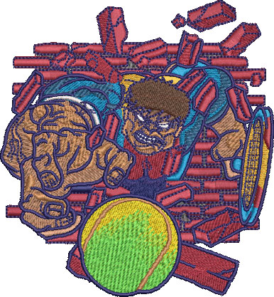 Embroidery Design: Hulking Tennis Med 4.02w X 4.35h