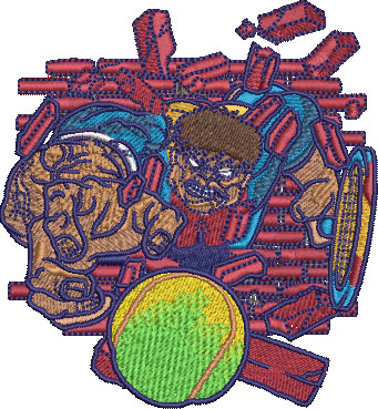 Embroidery Design: Hulking Tennis Sm 3.56w X 3.85h