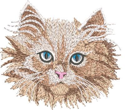 Embroidery Design: White Kitten Face Med 4.03w X 3.70h