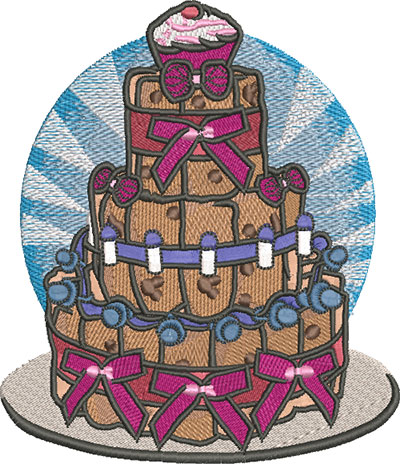 Embroidery Design: Baby Diaper Cake Lg 5.21w X 6.04h