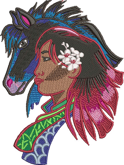 Embroidery Design: China Girl And Pony Lg 4.52w X 6.02h