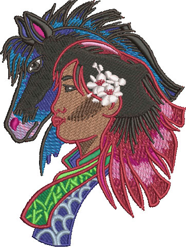 Embroidery Design: China Girl And Pony Med 3.77w X 5.02h
