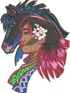 Embroidery Design: China Girl And Pony Sm 3.02w X 4.02h
