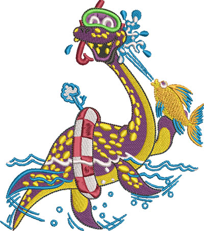Embroidery Design: Swimming Sea Monster Lg 5.40w X 6.12h