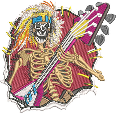 Embroidery Design: Skeleton Guitarist Lg 6.19w X 5.95h