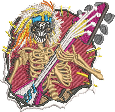 Embroidery Design: Skeleton Guitarist Sm<br> 4.19w X 4.06h
