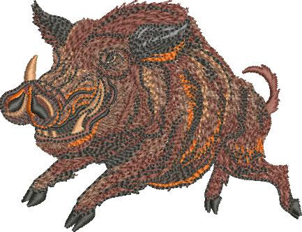 Embroidery Design: Running Razorback Lg 4.52w X 3.46h