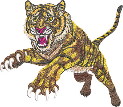 Embroidery Design: Leaping Tiger Lg 8.04w X 7.01h
