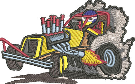 Embroidery Design: Dragster Lg 4.52w X 2.83h
