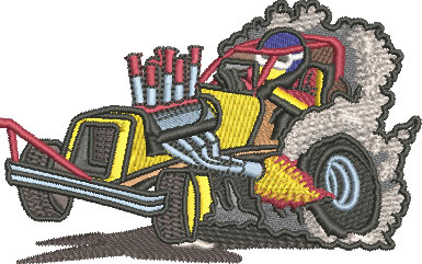 Embroidery Design: Dragster Med 4.02w X 2.52h