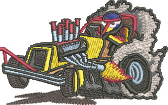 Embroidery Design: Dragster Sm 3.52w X 2.20h
