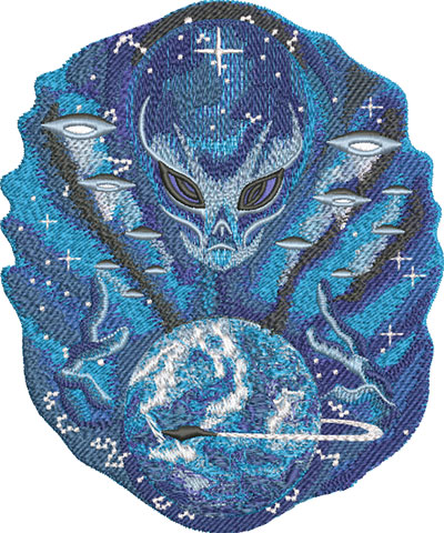Embroidery Design: Alien Master Med 5.71w X 6.86h