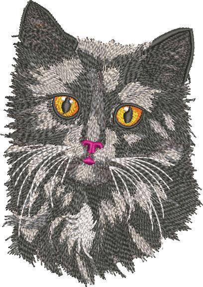 Embroidery Design: Black Cat Face Lg 4.24w X 6.00h