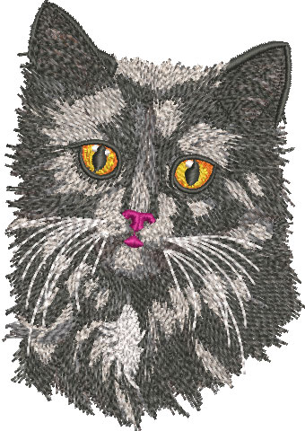 Embroidery Design: Black Cat Face Med 3.51w X 5.00h