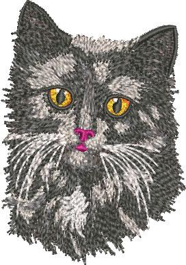 Embroidery Design: Black Cat Face Sm 2.82w X 4.02h