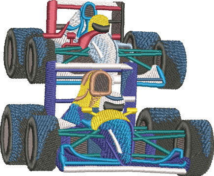 Embroidery Design: Formula One Race Cars Lg 4.55w X 3.75h
