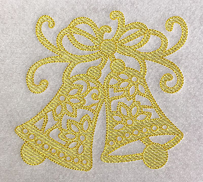 Embroidery Design: Christmas Trapunto Bells 4.79w X 4.51h