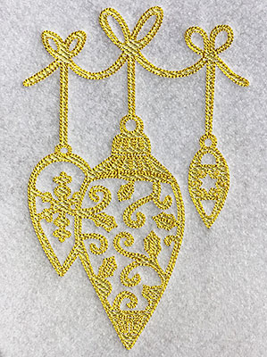 Embroidery Design: Christmas Trapunto Ornaments 4.26w X 6.47h