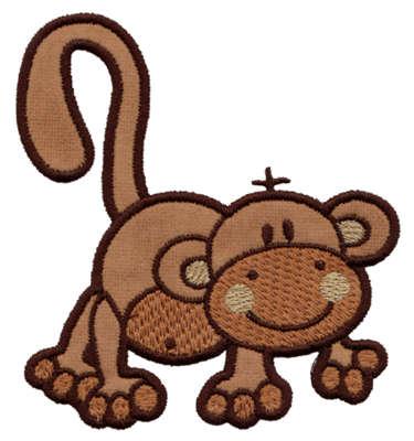 "Embroidery Design: Monkey Applique3.82"" x 4.14"""