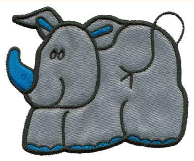 """Embroidery Design: Rhino Applique2.31"""" x 3.16"""""""