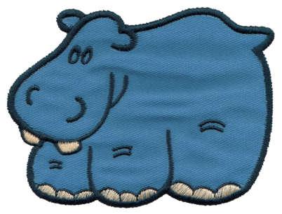 """Embroidery Design: Hippo Applique3.66"""" x 3.80"""""""