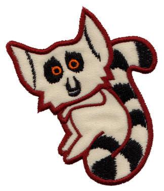 """Embroidery Design: Lemur Applique2.85"""" x 3.45"""""""