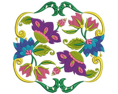 Embroidery Design: Jacobean Block 3 7.02w X 6.96h