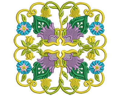 Embroidery Design: Jacobean Block 4 6.95w X 6.98h