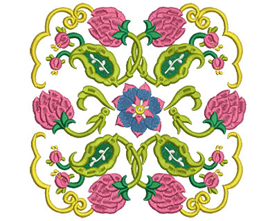 Embroidery Design: Jacobean Block 6 7.05w X 6.97h