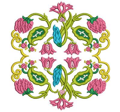 "Embroidery Design: Jacobean Block 9 6.37w X 7""h"