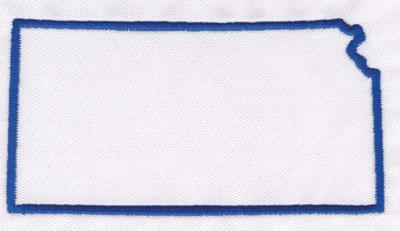"Embroidery Design: Kansas Outline2.62"" x 4.93"""
