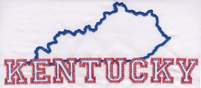 """Embroidery Design: Kentucky Outline and Name3.46"""" x 8.02"""""""