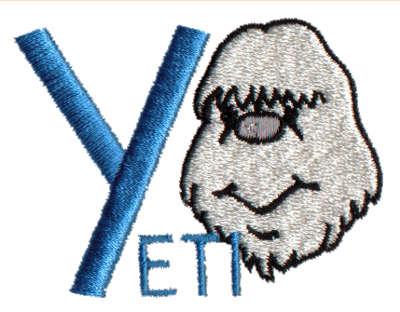 """Embroidery Design: Kiddie Alphabet Y2.69"""" x 1.98"""""""